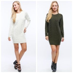 Sweaters - Cable knit warm thick tunic dress sweater